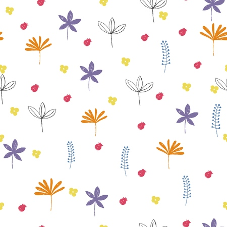 Seamless floral pattern with colorful leaves.