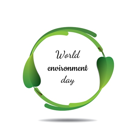 World environment day, circle with green leaves on a white background Vector illustration