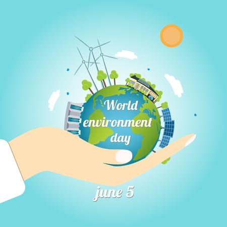Vector illustration of World Environment Day. Иллюстрация