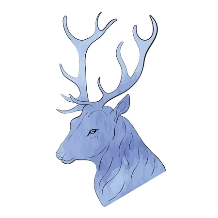 Deer hand painted watercolor illustration isolated on white background