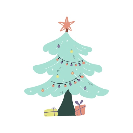 lat style vector illustration of Christmas tree