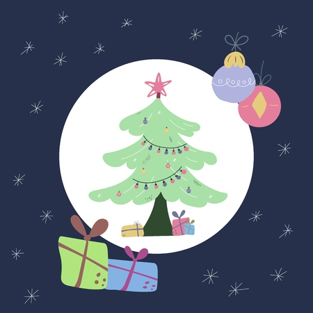 lat style vector illustration of Christmas tree
