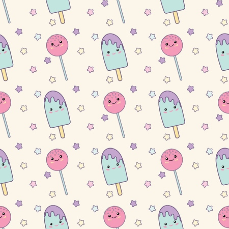 Holiday or Birthday Seamless pattern with lollipopand ice cream. Vector Festive Background for kids with Kawaii lollipop and ice cream.