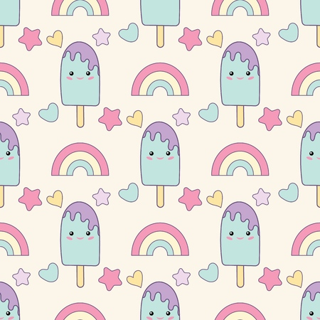 Holiday or Birthday Seamless pattern with rainbow and ice cream. Vector Festive Background for kids with Kawaii rainbow and ice cream.