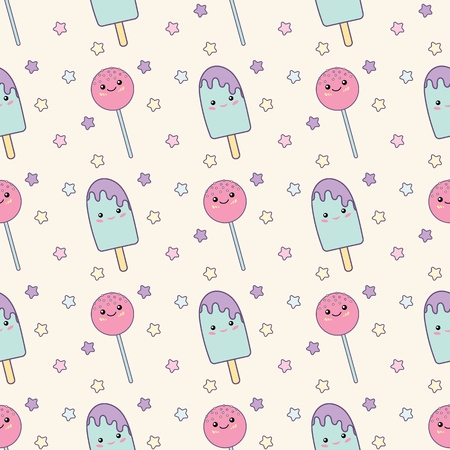 Holiday or Birthday Seamless pattern with lollipop and ice cream. Vector Festive Background for kids with Kawaii lollipop and ice cream. Иллюстрация