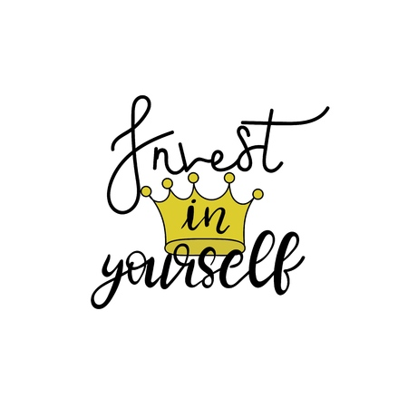 Invest in yourself. Hand drawn typography poster. Inspirational vector typography. Иллюстрация