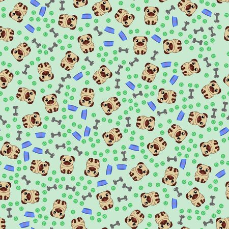 Seamless pattern with image of a Funny cartoon pugs