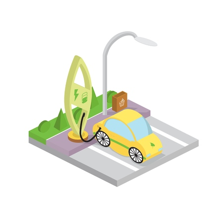 Electric car charging station. Plug-in vehicle getting energy from battery supply.