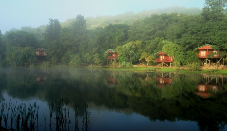 Cosy Log cabins overlooking a lake at Klein-Kariba, in South Africa. The sun is breaking through the fog, illuminating the idyllic setting to have a relaxing surreal holiday.