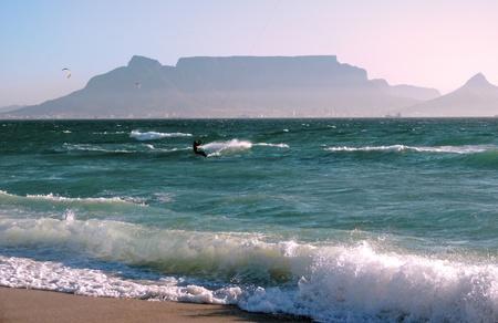 Kite-Surfen in Blueberg Beach, Cape Town, South Africa