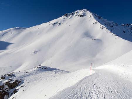 skipiste: Ski laufen in der Region des Piz Champatsch, Engadin Lizenzfreie Bilder