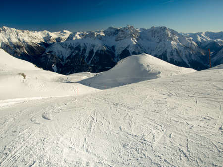 ski traces: Panorama of the Sesvenna mountain group