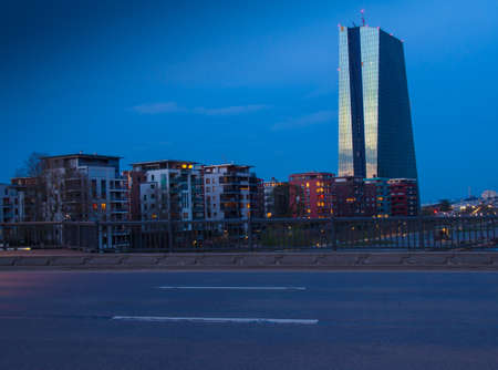 The new bulding of the European Central Bank Headquarters, ECB, EZB,  in Frankfurt, Germany