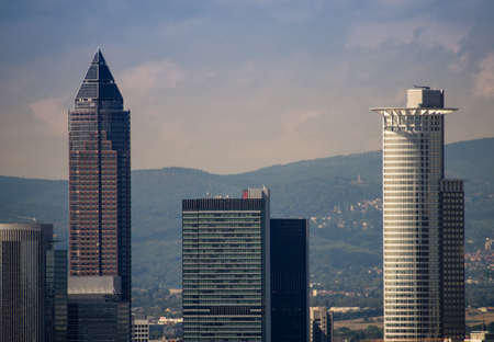 trade fair: Skyline with office buildings with Trade Fair Tower, fair tower in Frankfurt, Germany