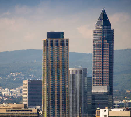 trade fair: Business buildings with Trade Fair Tower, Messeturm, in Frankfurt, Germany Stock Photo
