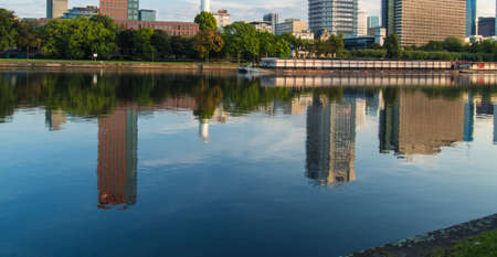 river main: Ship on the River Main in front of the skyline of Frankfurt, Germany Stock Photo