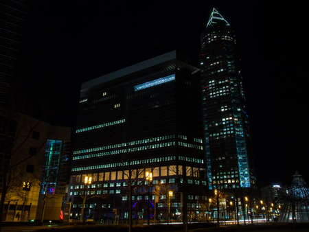 trade fair: Exhibition site with Trade fair tower, fair tower in Frankfurt, Germany, at night