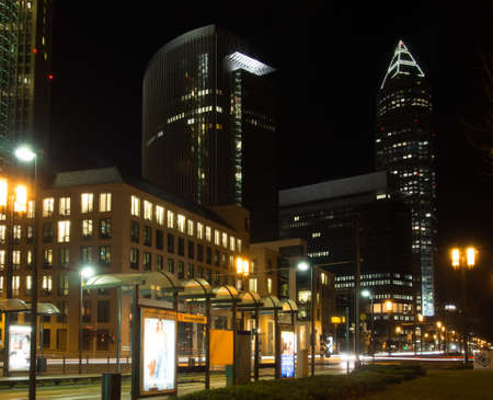 Exhibition site with Trade fair tower, fair tower in Frankfurt, Germany, at night