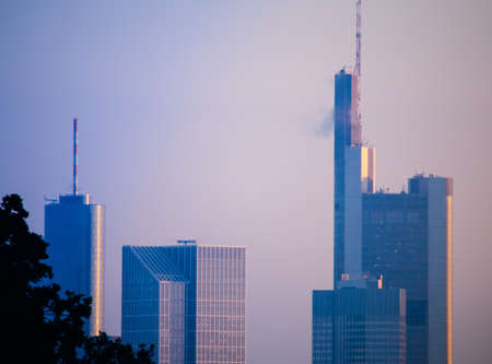 atmosphere construction: Morning atmosphere with office buildings in Frankfurt. Germany