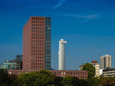 river main: Dynamic office buildings at the River Main, Frankfurt, Germany