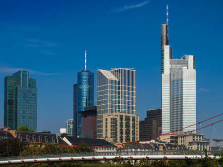 river main: Skyline of Frankfurt, Germany, and the river Main Stock Photo