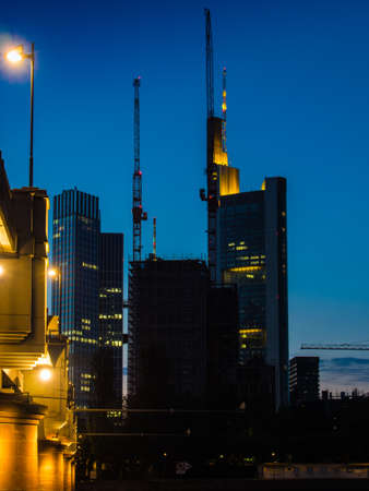 river main: Skyline of Frankfurt, Germany, and the river Main at sunset Stock Photo