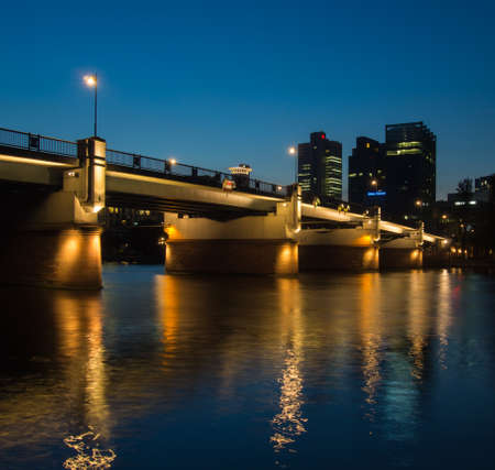river main: Skyline of Frankfurt, Germany, and the river Main at sunset Editorial