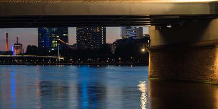 river main: Skyline of Frankfurt, Germany, bridge and the river Main at sunset