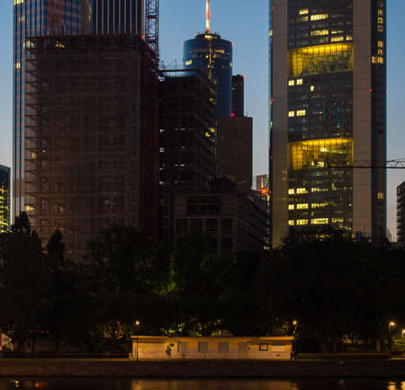 Skyline of Frankfurt, Germany, in the evening