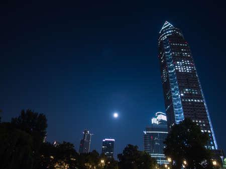 trade fair: Trade Fair Tower, Messeturm, and full moon in Frankfurt, Germany