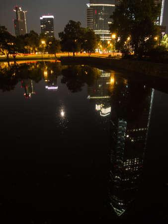 trade fair: Reflection of the Trade Fair Tower, Messeturm, in Frankfurt, Germany