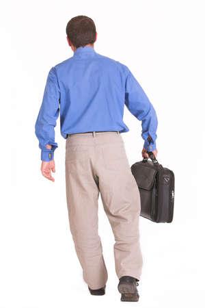 away: Walking away business man