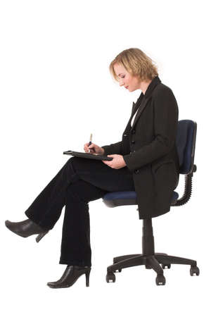 modern chair: Business woman sitting in chair with file in lap Stock Photo