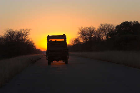 Safari vechicle driving romanticly into sunset photo