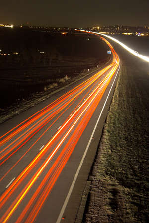 zooming: Driving home from work at night Stock Photo