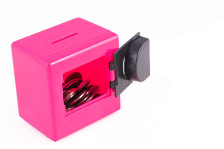 Pink toy safe with combination lock open photo