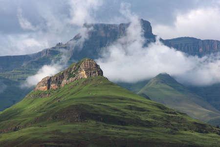 Sunlit peak against drakensberg backdrop in South Africa photo