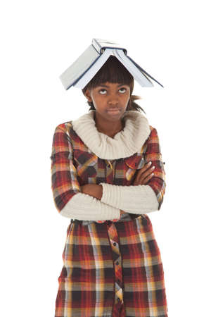 arma: Female black student with folded arma and book on head