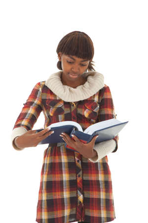 handbook: Young black female student with thick handbook isolated
