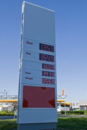 octane: Gas prices sign by a gas station in the Netherlands, in the summer of 2008. Stock Photo