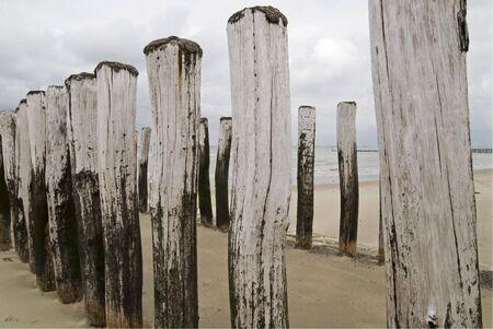 groynes: Groynes on dutch beach Stock Photo