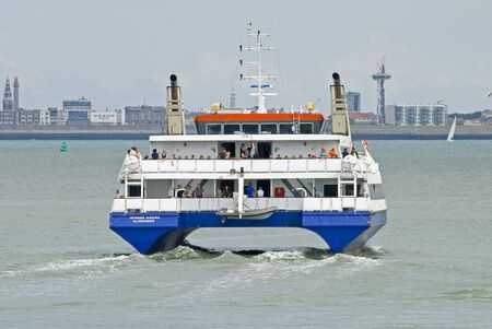 ferryboat: Ferry boat leaving the harbor from Beskens, the Netherlands Stock Photo