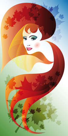 girl face with autumn leaves in abstract background