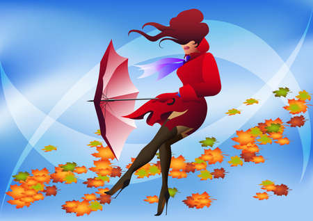 girl in red raincoat with umbrella and turned  foliage behind Illustration