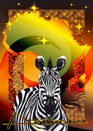 running zebra against contours of Africa and the star sky