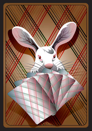 The animation rabbit sits with playing cards and  bluffing  in waiting for a prize