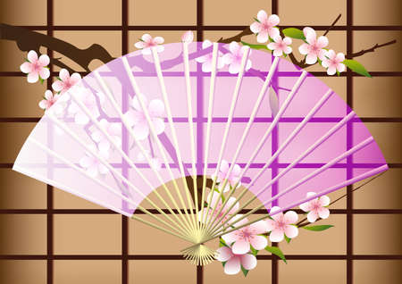 The opened Japanese fan on a background of a blossoming Oriental cherry and rice paper partitions  Illustration