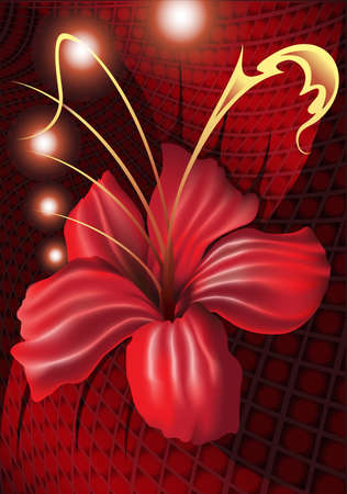 fantastic orchid of dark red color with shining spheres against a velvet drapery