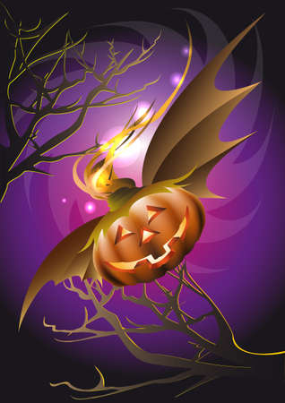Magic Pumpkin on the wings flies to Halloween Party through dark forest