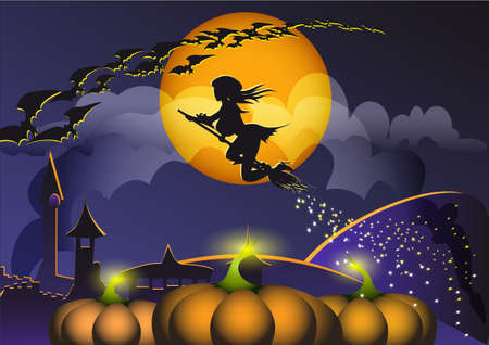 The witch on the broom flies to Halloween with bats on a background of a night small town Vector